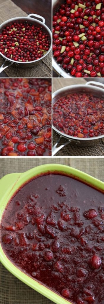 Bowls of fresh cranberries made into chutney