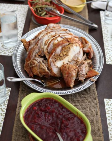 A Cajun treat -- a chicken inside of a duck inside of a turkey -- that's incredibly easy to make and bake for your Thanksgiving dinner! This Roasted Turducken is the perfect protein for any holiday feast.