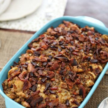 A spin on traditional French bread stuffing, Bacon and Baguette Stuffing uses baguettes, bacon, onions, carrots, celery, garlic, fresh herbs, cheese and broth to make an outstanding Thanksgiving side dish!