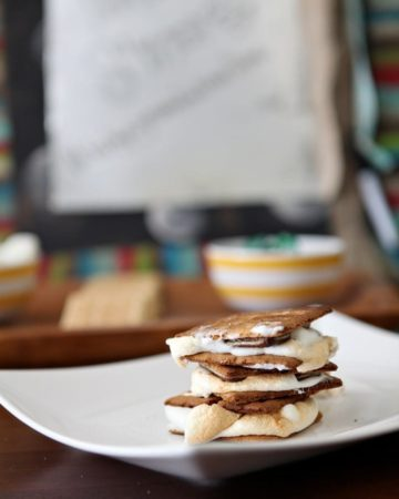 Toasted s'mores... made indoors! Allow your guests to roast their own marshmallows, or bake these treats in advance for a stunning shower dessert that's delicious and unique!