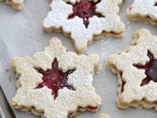 Raspberry Linzer Snowflake Cookies The Speckled Palate