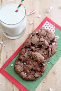 Slightly sweet, chewy Peppermint Brownie Cookies are bursting with candy cane chunks. They are the perfect gluten free dessert for the holidays!