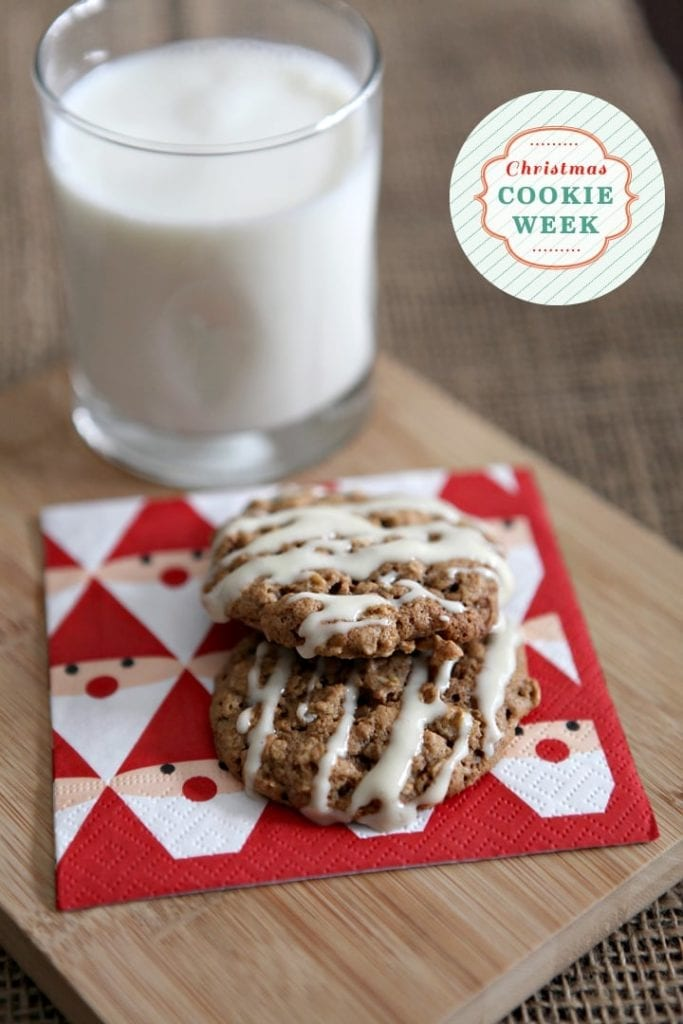 Christmas Cookie Week 2014: Oatmeal Cinnamon Cookies with Maple Cream Cheese Glaze // The Speckled Palate