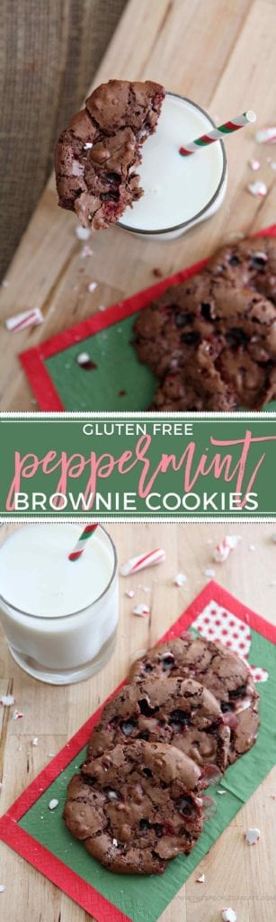 Slightly sweet, chewy Peppermint Brownie Cookies are bursting with candy cane chunks. These gluten free sweets are perfect for the holidays! #sweetestseasoncookies