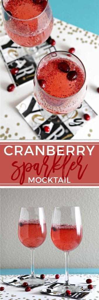 Fresh cranberries, maple syrup, white grape juice and club soda make this delightful Cranberry Sparkler Mocktail into a New Year's Eve (or any other kind of celebration) drink! This alcohol-free drink is perfect for kids, expectant mamas and anyone who doesn't drink alcohol.