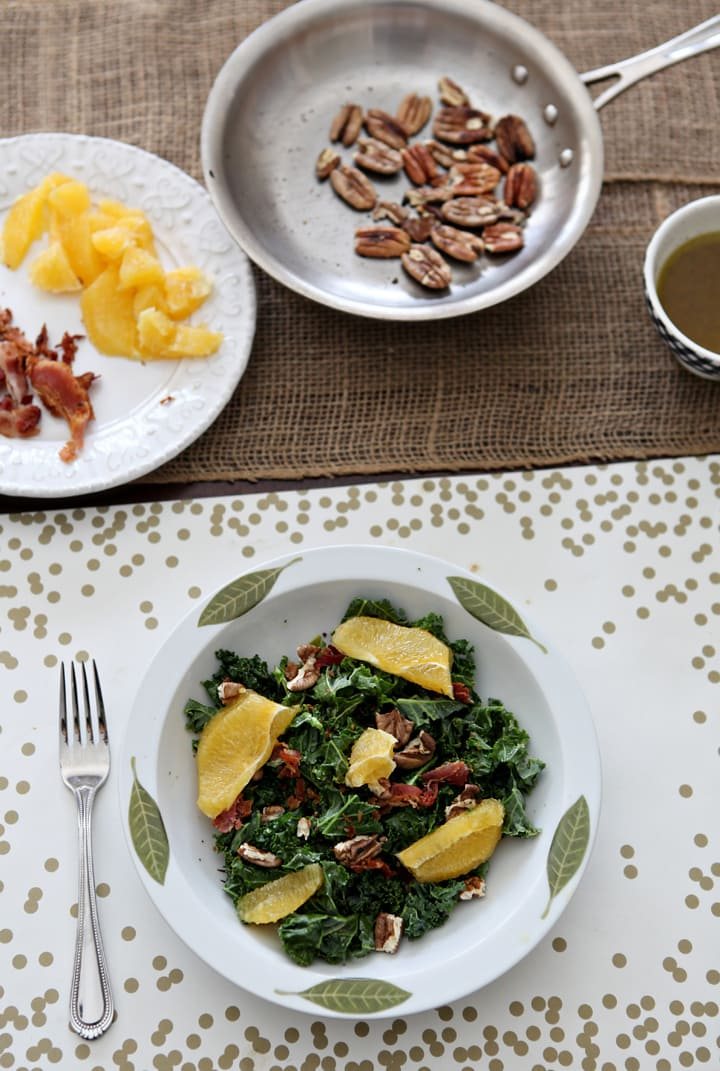 Start off the new year with a healthy Mandarin Kale Salad, made with fresh mandarin oranges, kale, toasted pecans, bacon and an orange vinaigrette.