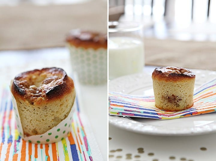 A collage of two images showing a close up of a Vanilla Bean Coffee Cake Muffin and the same muffin on a white plate and rainbow-striped napkin on a white plate next to a glass of milk on a table