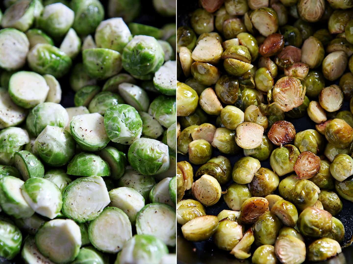 A collage of two image side by side showing Brussels sprouts before and after roasting