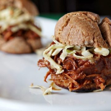 Slow Cooker BBQ Chicken Sandwiches with Mustard Coleslaw // @speckledpalate