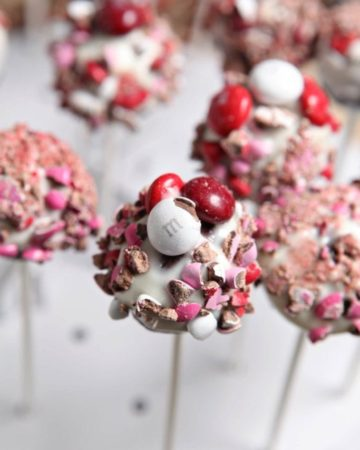 Close up of m&m's on brownie pops