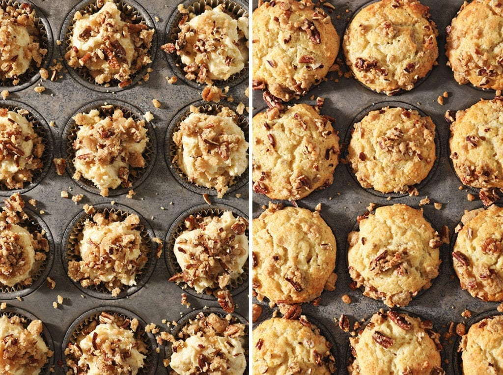 A collage of two images showing Coffee Cake Muffins in a tin before baking and after
