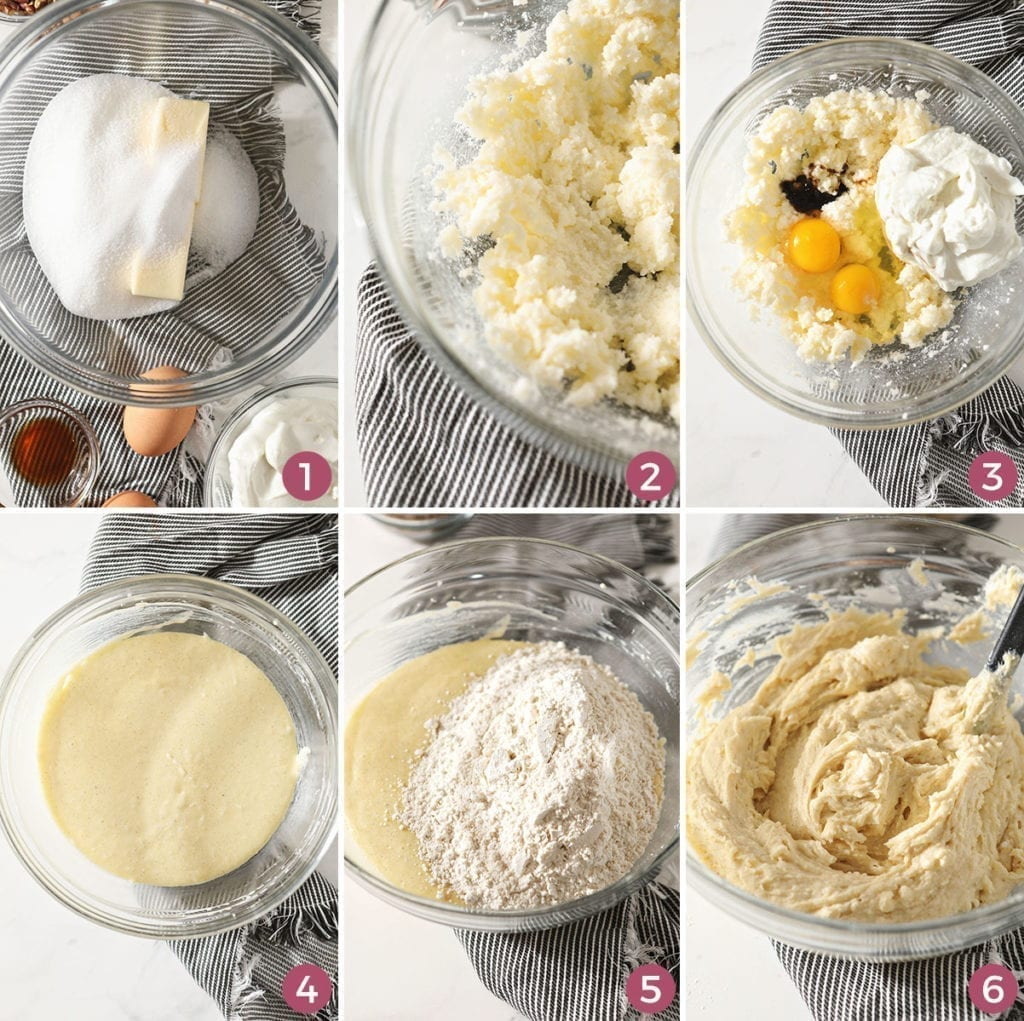 A collage of six images showing how to make vanilla muffin batter