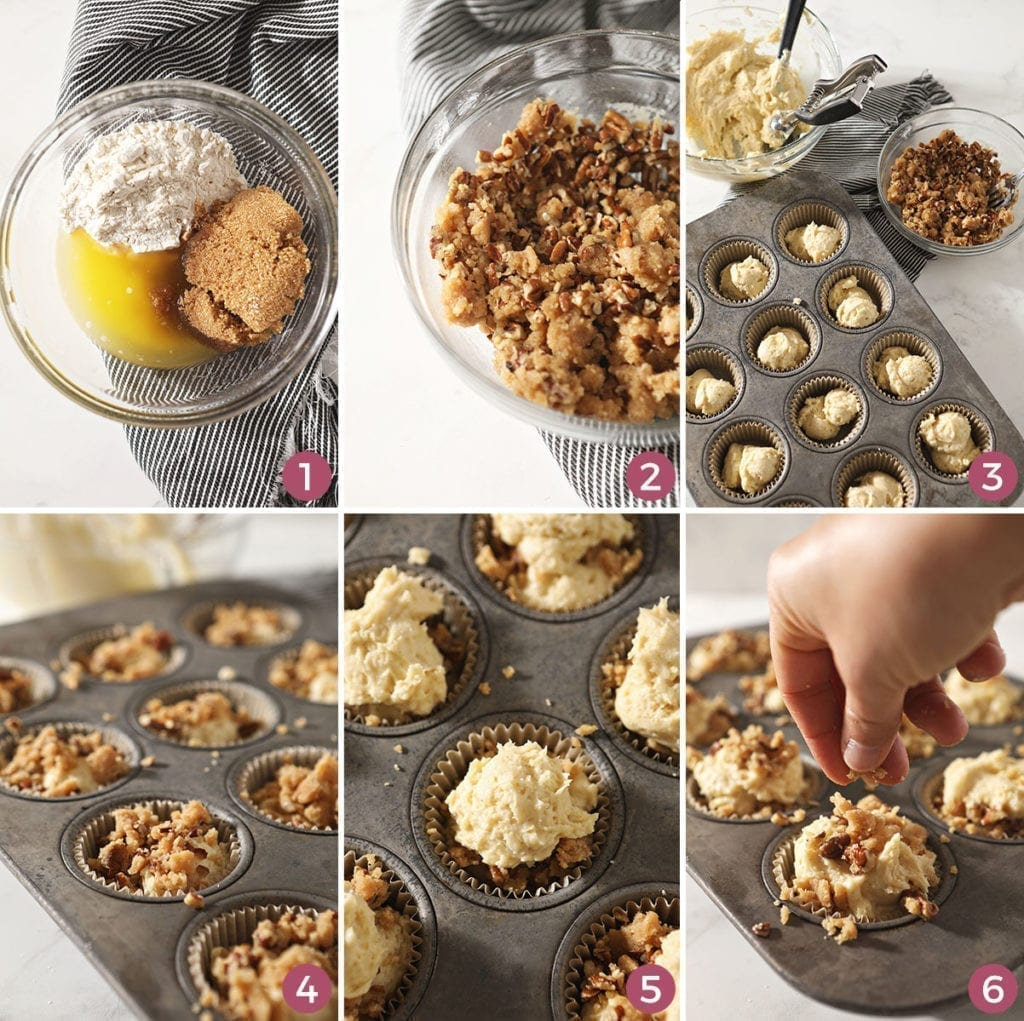 A collage of six images showing how to put together the pecan streusel topping and the muffins before baking