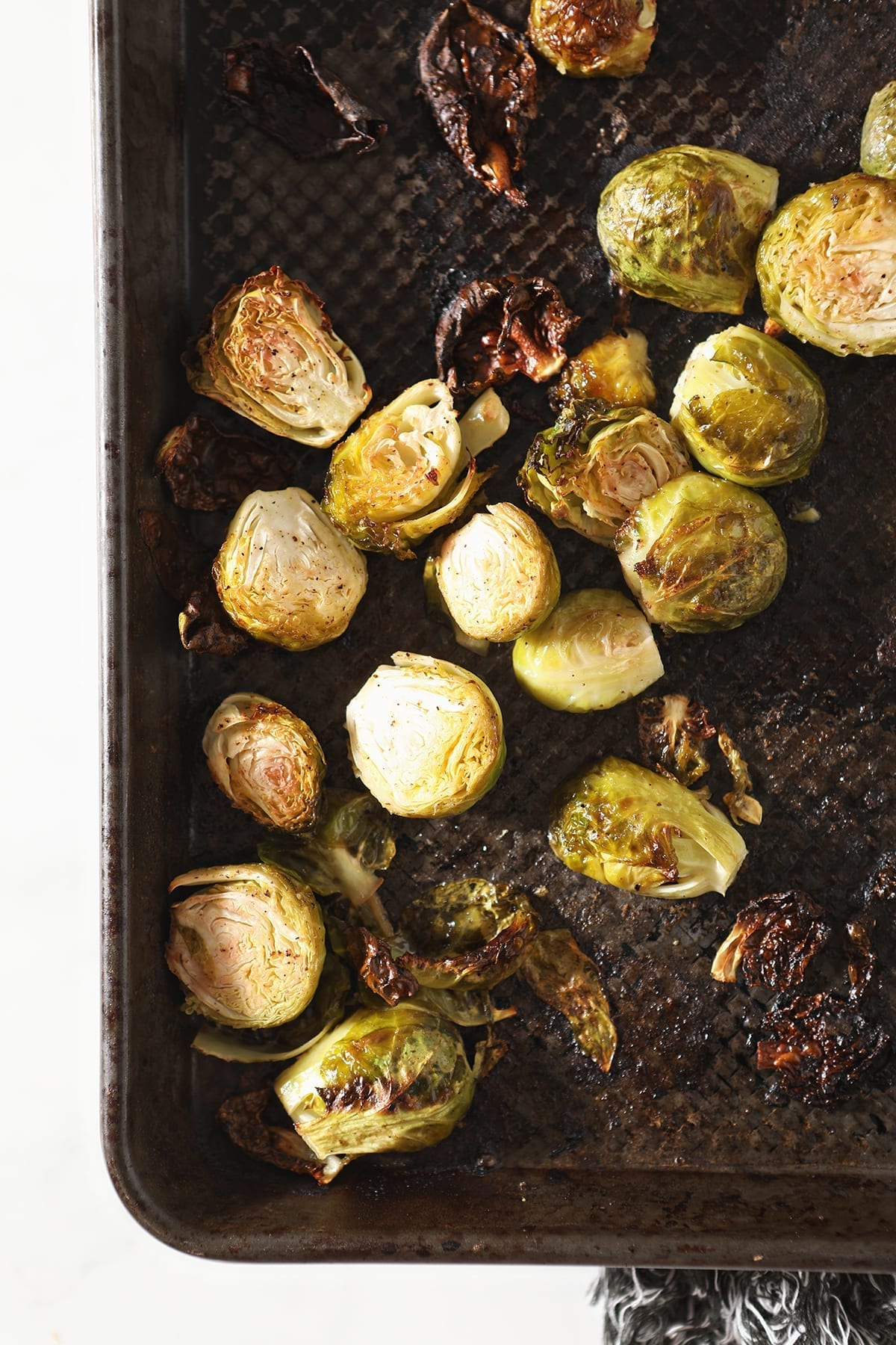 Brussels sprouts on a baking sheet after baking