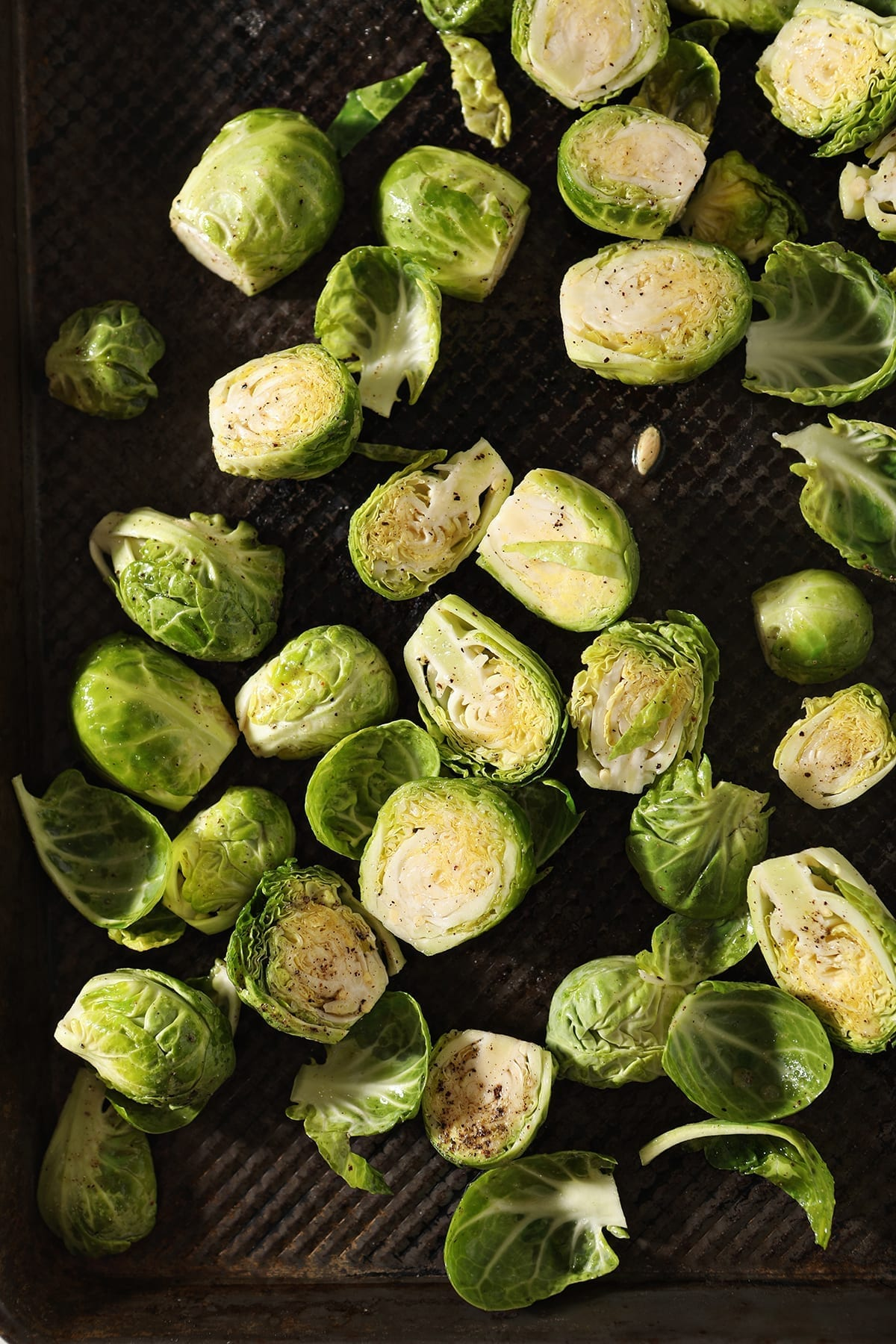 Brussels sprouts on a baking sheet before baking