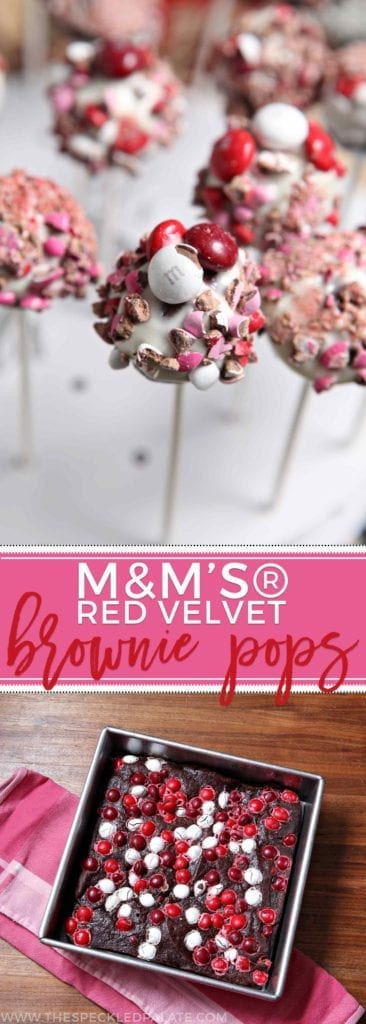 M&M's® Red Velvet Brownie Pops | Bake your loved ones and friends these M&M's® Red Velvet Brownie Pops for Valentine's Day! These dense, rich brownie pops are studded with M&M's® Red Velvet, dipped in a decadent cream cheese icing and then topped with crushed M&Ms. What's not to love? #ad #RedVelvetLove