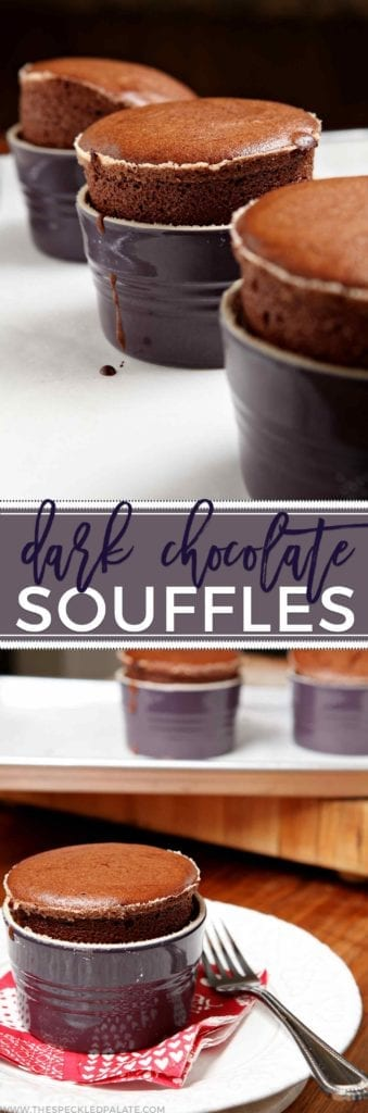 Let's celebrate Valentine's Day with these gooey, decadent and delicious Dark Chocolate SouffleŽs, which come together quickly and bake up nicely. The perfect dessert if you're holding a stay-at-home Valentine's celebration this year!