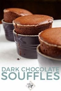 Pinterest image for Dark Chocolate SoufflŽes, featuring three risen chocolate souffles