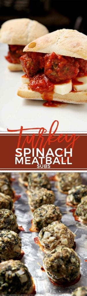 Satisfy a Meatball Sub craving with this healthier Turkey Spinach Meatball Sub. Flavorful and swimming in marinara sauce, it's hard not to love this simple and delicious sandwich.