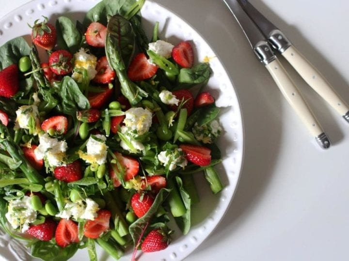 Spring Pea, Asparagus and Strawberry Salad