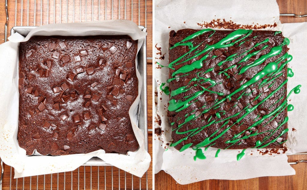 Collage of two images showing brownie ingredients and final baked and decorated brownies