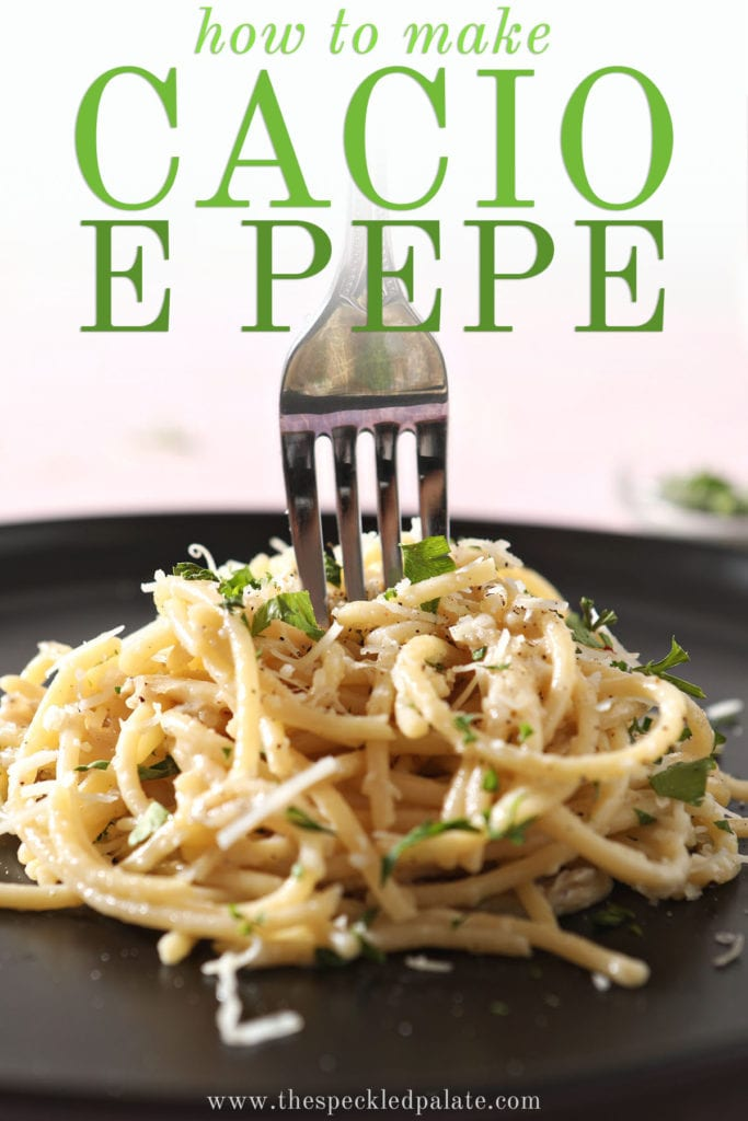 A fork twirls in a stack of pasta with the text how to make cacio e pepe