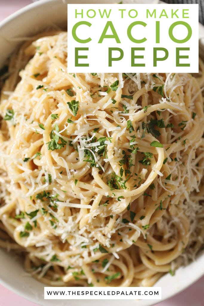 A bowl of authentic cacio e pepe garnished with cheese and parsley with the text how to make cacio e pepe