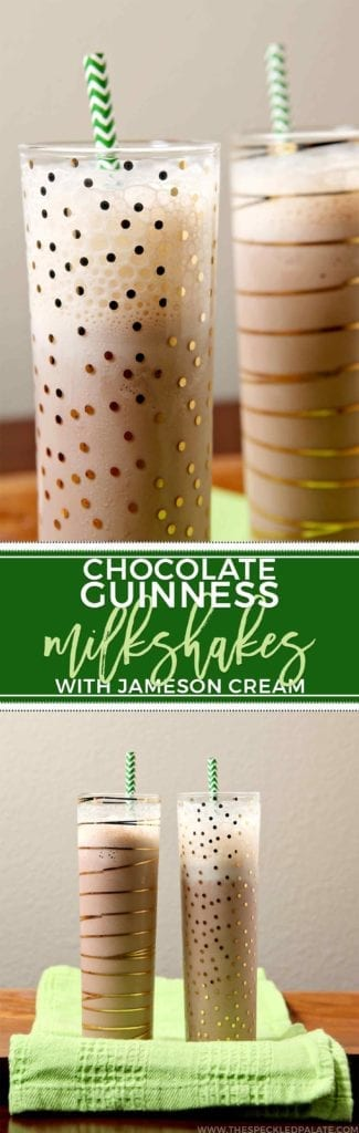 Collage of two images showing gold-decorated glasses holding boozy milkshakes with the text 'chocolate guinness milkshakes with jameson cream'