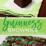 These decadently rich Guinness Brownies with Cream Cheese Frosting Drizzle are the perfect dessert to bake for your St. Patrick's Day celebration. | Guinness Brownies | Dark Chocolate Brownies | Dense Chocolate Brownies | Beer Brownies | St. Patrick's Day Dessert | St. Patrick's Day Recipe | St. Patrick's Day Brownies