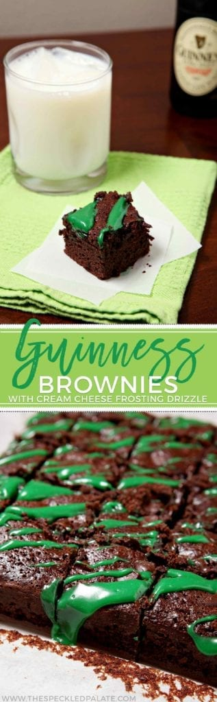 A collage of two images showing Guinness brownies drizzled with green cream cheese frosting at two different angles with the text 'Guinness brownies'