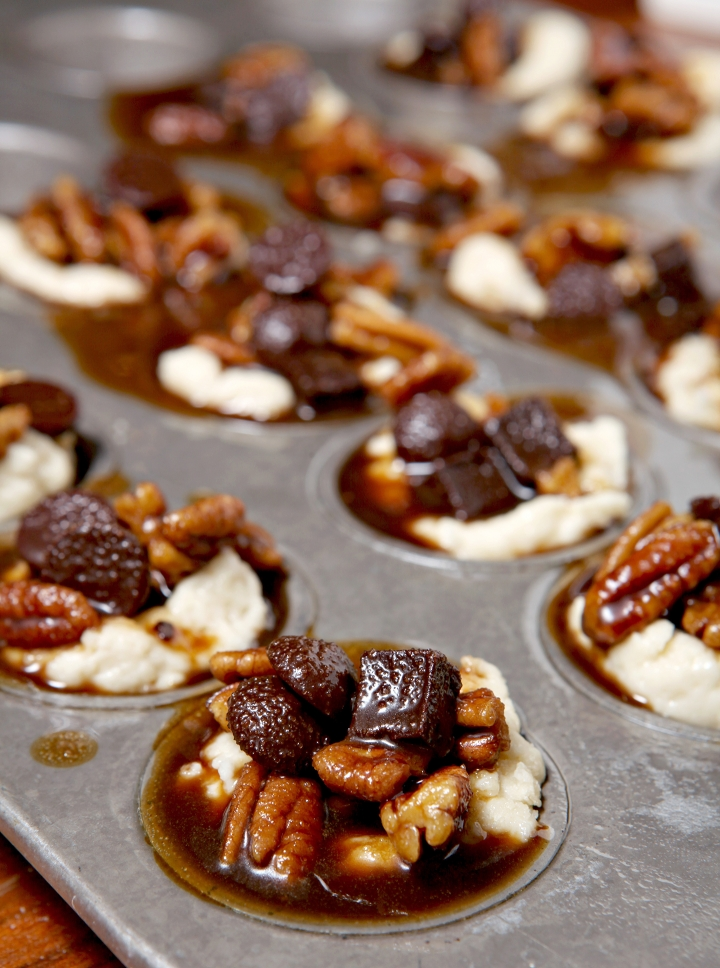 Mini Derby Pies   Celebrate the Kentucky Derby this coming weekend in style with individual Derby Pies! Bourbon, chocolate and pecans make for a delightfully sweet filling inside a cream cheese crust. Paired with bourbon, these mini desserts are the perfect Derby Day sweet!