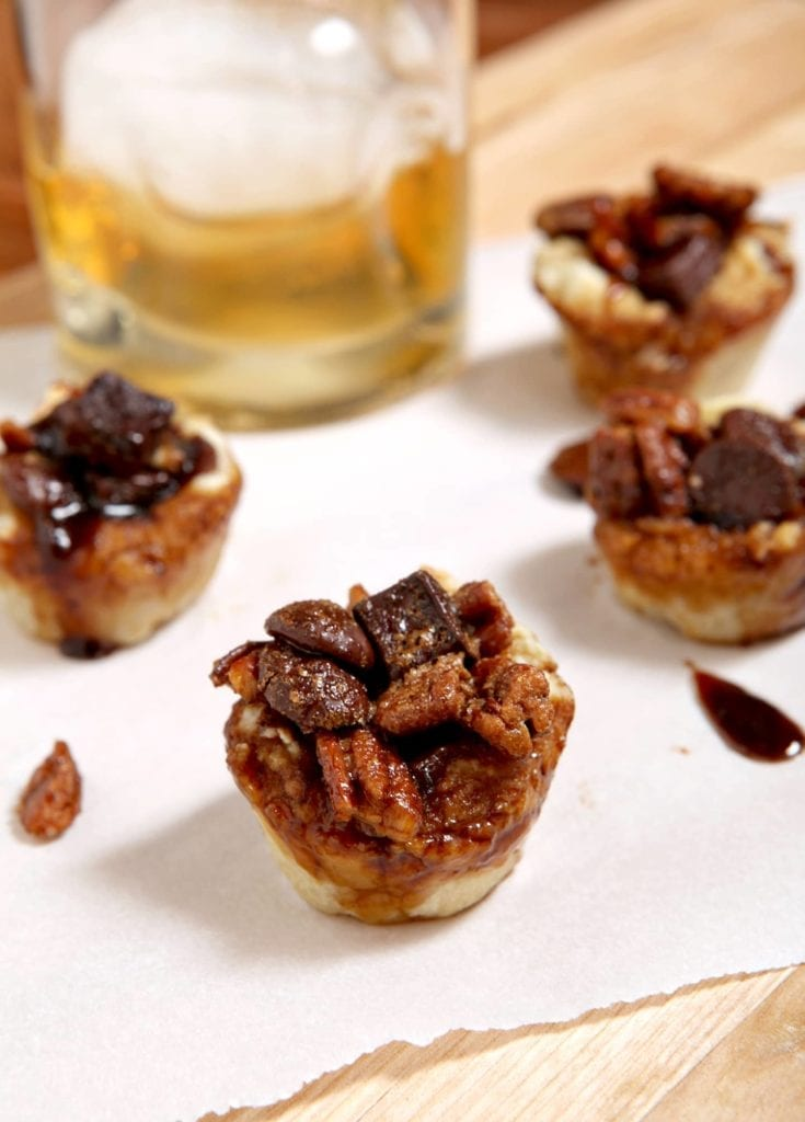Mini Bourbon Chocolate Pecan Pies // The Speckled Palate