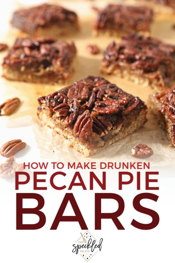 Sliced Bourbon Pecan Pie Bars sit on wax paper with the text 'how to make drunken pecan pie bars'