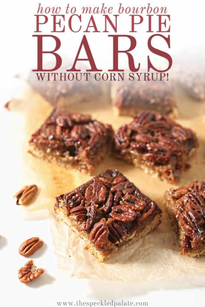 Sliced Bourbon Pecan Pie Bars sit on wax paper with the text 'how to make bourbon pecan pie bars without corn syrup'