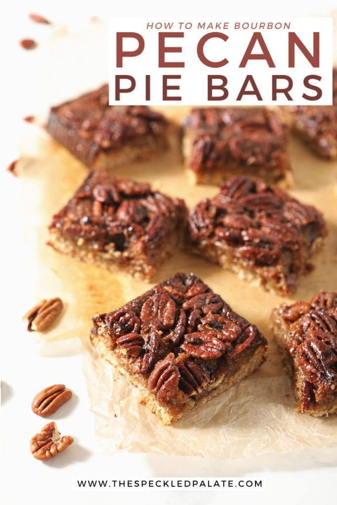 Sliced Bourbon Pecan Pie Bars sit on wax paper with the text 'how to make bourbon pecan pie bars'