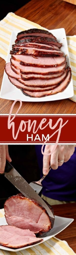A collage of two images showing a final ham sliced and another of a person slicing the ham with the text 'honey ham'