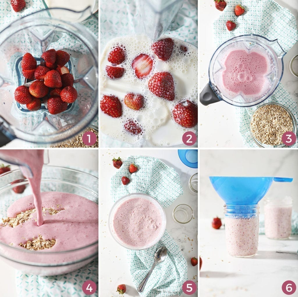 Collage of six images showing how to make and prepare strawberry overnight oats