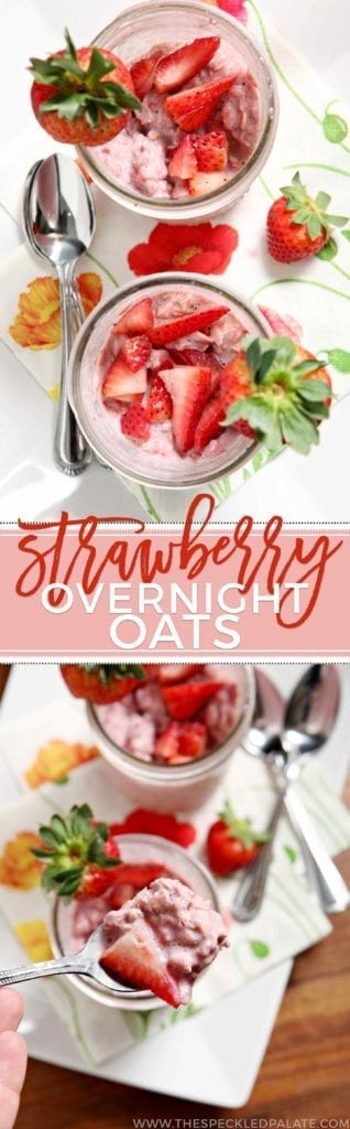 Prepare breakfast the night before by mixing up oats, strawberries and milk in a mason jar, then letting them hang out overnight to create these delicious Strawberry Overnight Oats. Top with fresh strawberries and enjoy cold the next morning!