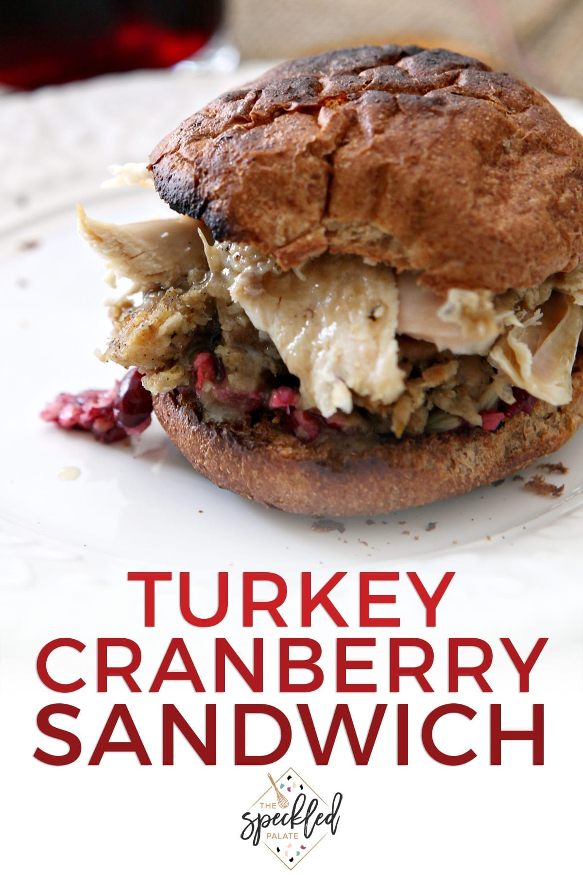 A toasted sandwich on a white plate with the text 'turkey cranberry sandwich'