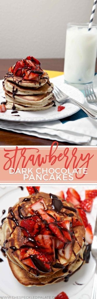 Surprise your mom (or any special lady in your life!) with Strawberry Dark Chocolate Pancakes in bed. Perfect for Mother's Day or any weekend breakfast.
