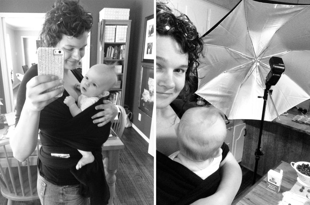 Collage of two portraits of Erin and Lady A, her daughter in a baby carrier, ready to photograph the Blueberry Pecan Feta Salad