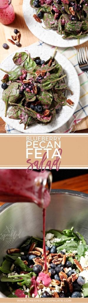 Blueberry Pecan Feta Salad Pinterest collage, featuring two images: an overhead of the final salad and the homemade blueberry vinaigrette being drizzled into salad in a bowl.