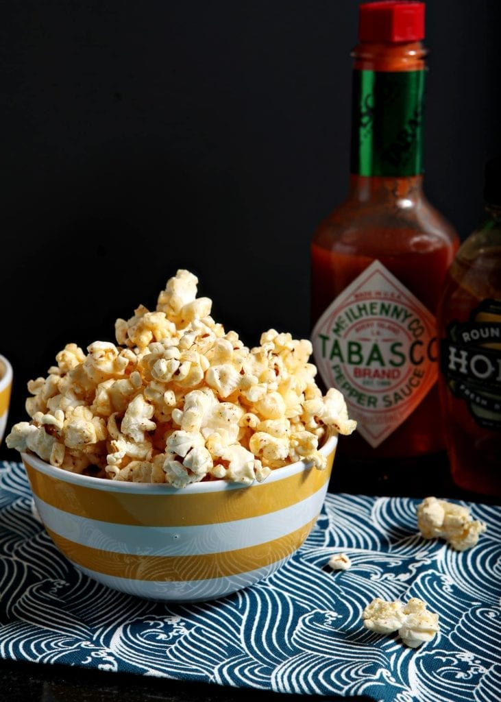 Sweet and spicy, Tabasco Honey Butter Popcorn is a perfect afternoon snack for someone who loves a combination of flavors on their popcorn. Tabasco adds pepper to the popcorn, and the sweet honey butter drizzle balances everything out to make a lovely bowl of popcorn.