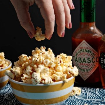 Sweet and spicy, Tabasco Honey Butter Popcorn is a perfect afternoon snack for someone who loves a combination of flavors on their popcorn. Tabasco adds pepper to the popcorn, and the sweet honey butter drizzle balances everything, making delicious popcorn.