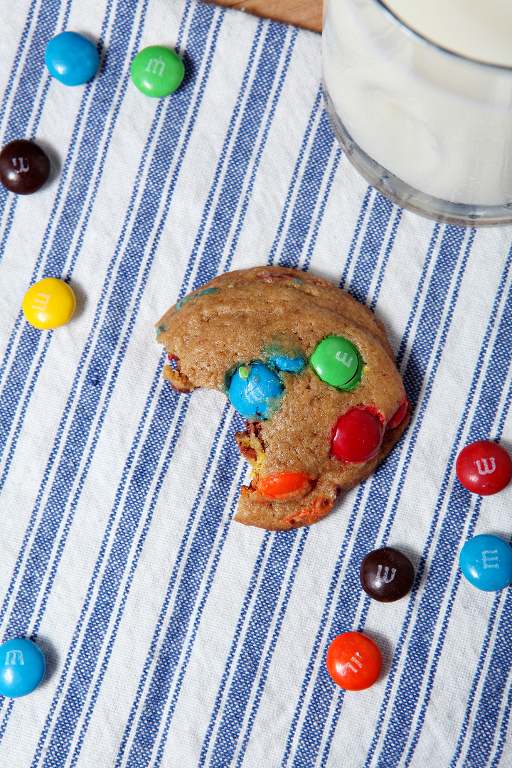 These M&M Cookies are the perfect dessert! The miniature sugar cookies are sweet, fluffy and chock full of plain M&M