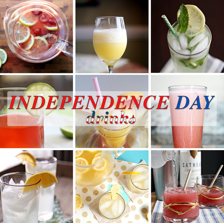 Independence Day Drinks | Looking for the perfect July 4th foods? Look no farther than this July 4th Recipe Round-Up, including summer appetizer, entrees, sides, drinks and desserts!