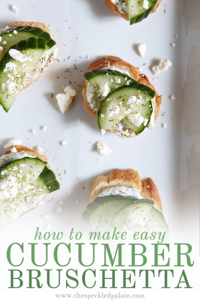 Several cucumber bruschetta on a white platter garnished with extra feta cheese and dill with the text 'how to make easy cucumber bruschetta'