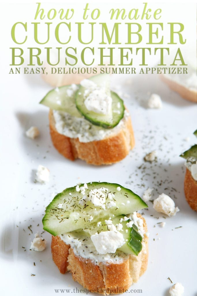 Close up of a few cucumber bruschetta on a white platter with the text 'how to make cucumber bruschetta. an easy, delicious summer appetizer'