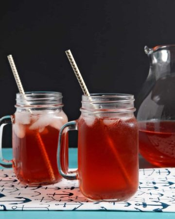Two glasses of iced Strawberry Tea on a turquoise tabletop