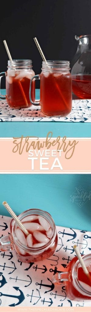 Pinterest collage of two images featuring glasses of fruit tea on a turquoise table with the text 'strawberry sweet tea'